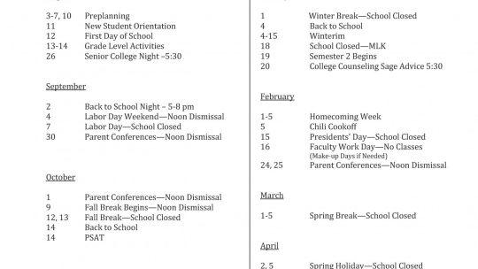 Key Dates Calendar for 2020-21